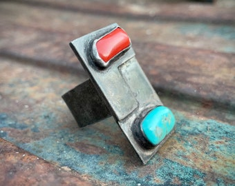 Vintage Silver Neckerchief Scarf Slide with Turquoise Coral Setting, Old Pawn Scarf Knot Tie