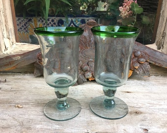 Pair of Vintage Mexican Hand Blown Glass Goblets Clear with Green Rims, Southwestern Kitchen
