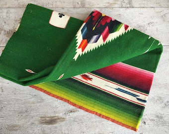 Rare 1940s Mexican serape card table blanket 32 x 34 woven wall hanging Southwestern decor