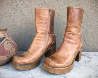 1990s Platform Boot Women Size 8 Brown Leather Steve Madden Chunky Heel Boot Made in Brazil, Goth Boots