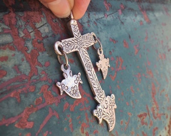1940s 28g Silver Chachal Cross with Sacred Heart Milagros, Indigenous Cross Pendant from Guatemala or Chiapas Mexico