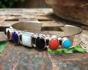 Multi Color Multi Stone Sterling Silver Cuff Bracelet, Native American Indian Navajo Jewelry