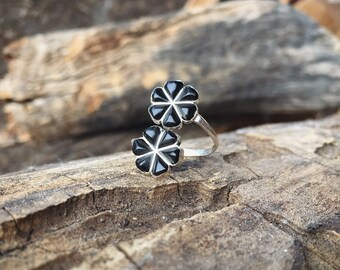 Wraparound Silver Black Onyx Flower Ring for Women or Girls, Native American Indian Jewelry