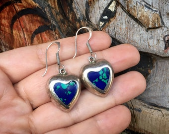 Mexican 925 Sterling Silver Azurmalachite Heart Earrings for Woman, Blue Green Jewelry