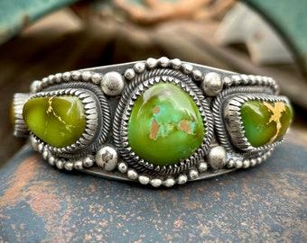 97g Navajo Verdy Jake Green Turquoise Cuff Bracelet Five Stone, Native American Indian Jewelry