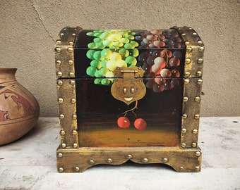 "Vintage 9-1/2"" Painted Wood Storage Box w/ Studded Trim, Humpback Chest, Small Storage Trunk"