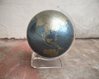 1970s Lucite Globe on Clear Plastic Stand by Repogle, Mid Century Modern Hollywood Regency Decor