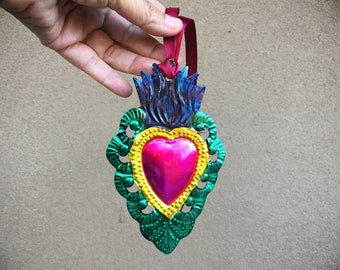 Mexican Tin Ornament Sacred Heart, Christmas Ornaments, Mexican Home, Get Well Gift