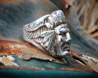 Indian Motorcyles Sterling Silver Native American Chief Ring Unisex Size 7, Biker Jewelry Gift Men