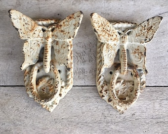 Pair of Vintage Cast Metal Butterfly Door Knockers or Drawer Pulls Architectural Salvage, Old World Cottage Decor