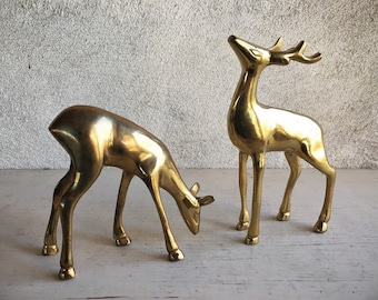 Midcentury Modern Brass Deer Figurines Christmas Deer Buck Doe Family