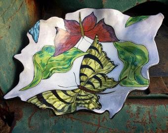 Farraday Newsome Butterfly Bowl Art Studio Pottery Kitchenware, Yellow Black White Kitchen Decor