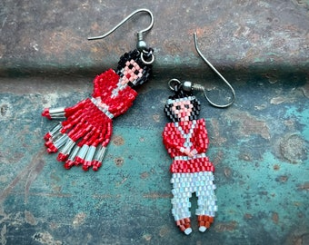 Small Southwestern Seed Beaded Earrings Navajo Woman Man Traditional Clothing, Native American