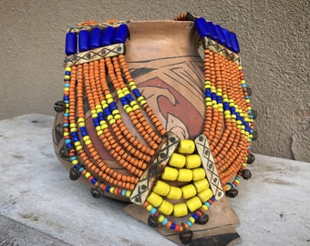 Old Konyak Naga Shield Bib Necklace with Multi Color Glass Beads, Museum Quality Tribal Jewelry