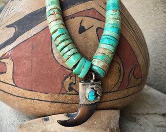 1950s Turquoise Heishi Necklace Choker, Native American Indian Santo Domingo Turquoise Jewelry