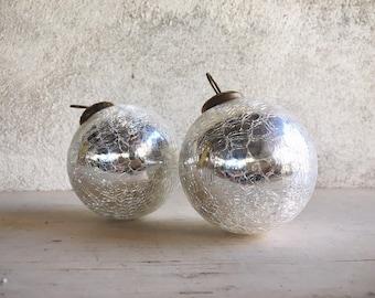 Vintage White Silver Mercury Glass Christmas Ornament Kugel Style Ornaments Christmas Decorations