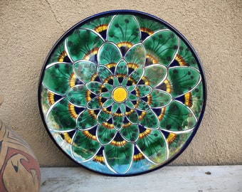 """11"""" Talavera Peacock Feather Design Plate Wall Hanging, Mexican Pottery Folk Art, Rustic Southwest"""
