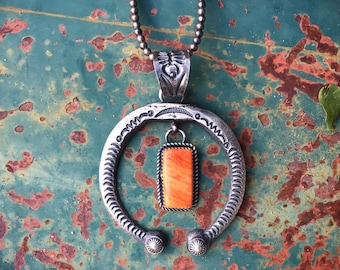 Signed Navajo Spiny Oyster Sterling Silver Naja Pendant for Women, Native American Indian Jewelry, Gift for Mother In Law Sister Aunt Friend