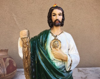 Vintage Statue Saint Jude the Apostle Patron Saint of Desperate Cases Lost Causes, Religious Decor
