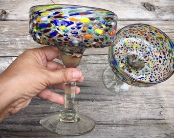 Two Large Mexican Blown Glass Margarita Goblets Speckled Glass, Hand Blown Glass, Southwestern Decor Rustic Home