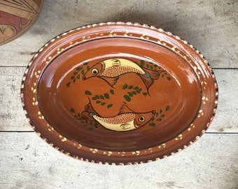 Vintage Mexican Pottery Oval Dish Two Fish Decor Capula Michoacan Redware Mexican Decor