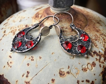 Mexican Silver Filigree Jewelry Hoop Earrings with Ruby Red Rhinestones, Spanish Colonial Style