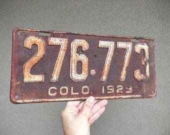 Unrestored 1929 Rusty Metal License Plate from Colorado, Salvage Industrial Primitive Decor