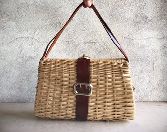 Vintage Woven Straw Purse with Leather Strap Handles, 1950s 1960s Wicker Bag for Women