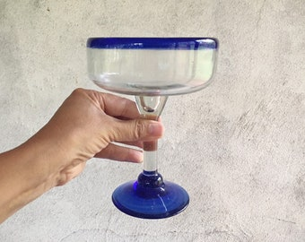 Three Heavy Vintage Mexican Blown Glass Margarita Glasses Blue Rim, Cinco de Mayo Day of Dead Party