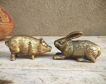 Brass Figurine Small Rabbit OR Pig Figurine, Vintage Brass Decor, Brass Animals