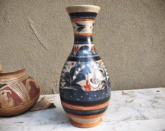 Tonala Vase Burnished Pottery with Bird Design, Mexican Decor, Southwestern Decor, Centerpiece for Table