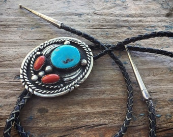 Vintage Turquoise Silver Bolo Tie for Men, Authentic Turquoise and Coral Western Tie, Old Pawn
