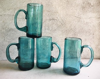 Four Mexican Blown Glass Steins Teal Blue Color, Chunky Glass Mexican Kitchen Southwestern Decor