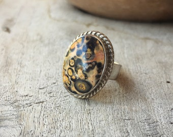 Leopardskin Jasper Ring Made in Taxco, Mexican Silver Jewelry, Sterling Silver Ring for Women