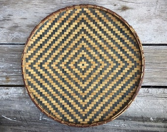 Vintage Shallow Flat Basket Woven Earthtone Bohemian Decor, Primitive Decor