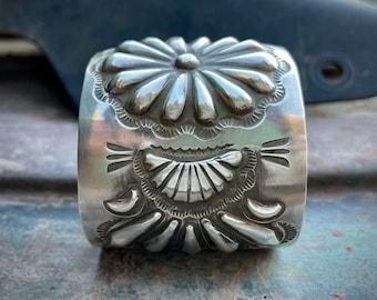 92g Navajo Elvira Bill Sterling Silver Repousse Cuff Bracelet, Native American Indian Jewelry