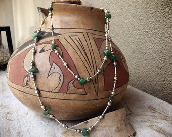 Double Strand Aventurine and German Silver Bead Necklace for Women,  Native American Indian Jewelry