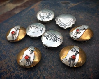 Eight Sterling Silver Button Covers (Four with Brass Coral Howling Coyote) Native American Jewelry