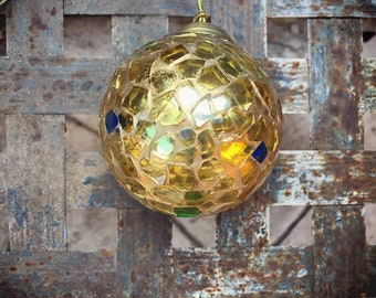 Vintage Gold and Blue Glass Mosaic Christmas Ornament Holiday Decor, Golden Christmas Decorations, Gift for Hostess Neighbor Work Friend