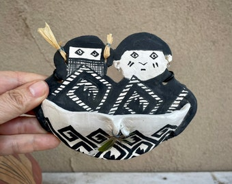 Artisan Made Pottery Wall Pocket in Mimbres Style by Janet F. Hevey, Southwestern Style Art