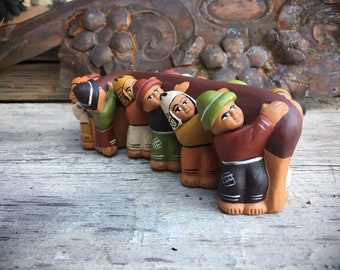 Peruvian Pottery Figurine Carrying the Cross Penitente Semana Santa Holy Week Ceramic Folk Art