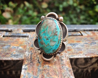 Signed Navajo Morenci Turquoise Ring for Women or Men Size 8.5, Native America Indian Jewelry