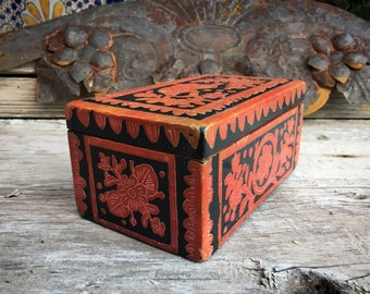 Vintage Mexican Red Lacquer Painted Wood Box with Flowers Rabbit, Mexican Folk Art, Southwest Decor