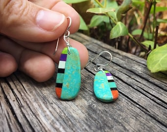 Small Multicolor Turquoise Slab Earrings Santo Domingo Earrings, Native American Indian Turquoise Jewelry