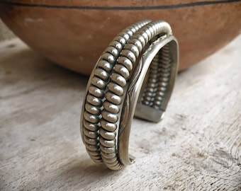 Vintage Coin Silver Double Spiral Twist Wire Cuff Bracelet for Women or Men, Native American Indian Jewelry