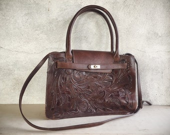 Vintage Alejandro Yeo Mexican Purse for Women, Tooled Leather Tote, Dark Brown Leather Shoulder Bag