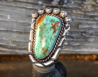 Size 10 (Adjustable) Navajo Turquoise Ring for Men or Women, Native American Indian Jewelry