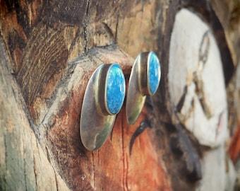 Vintage Navajo Earrings Posts for Women Silver Denim Lapis Native American Indian Jewelry