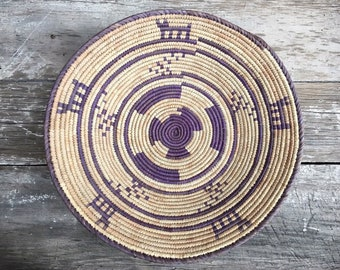 Coiled Basket Beige Purple Wall Decor, Bohemian Eclectic Southwestern Home, Round Baskets to Hang on Wall