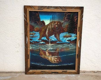 Vintage Black Velvet Painting of Grizzly Bear by Mexican Ernesto Sanchez, Retro Decor 1960s